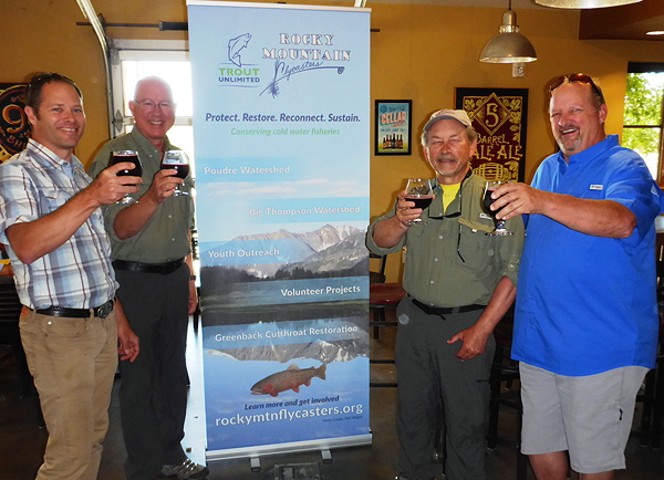 Pictured left to right: Matt Fairchild, USFS Fisheries Biologist and Project Lead; Mickey McGuire RMF President; Wil Huett RMF; Dick Jefferies, CTU Board Vice President