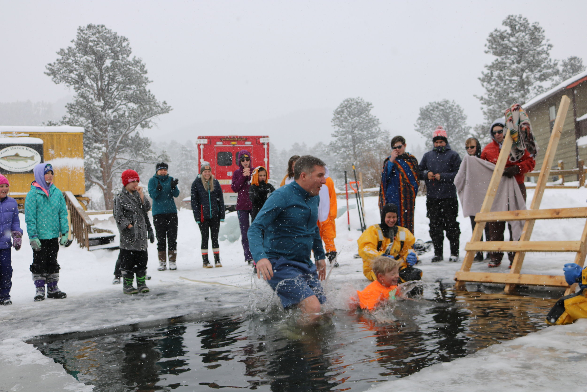 Local elementary school Principle, John Bryant, takes the plunge to help raise money for TIC tanks in his school.