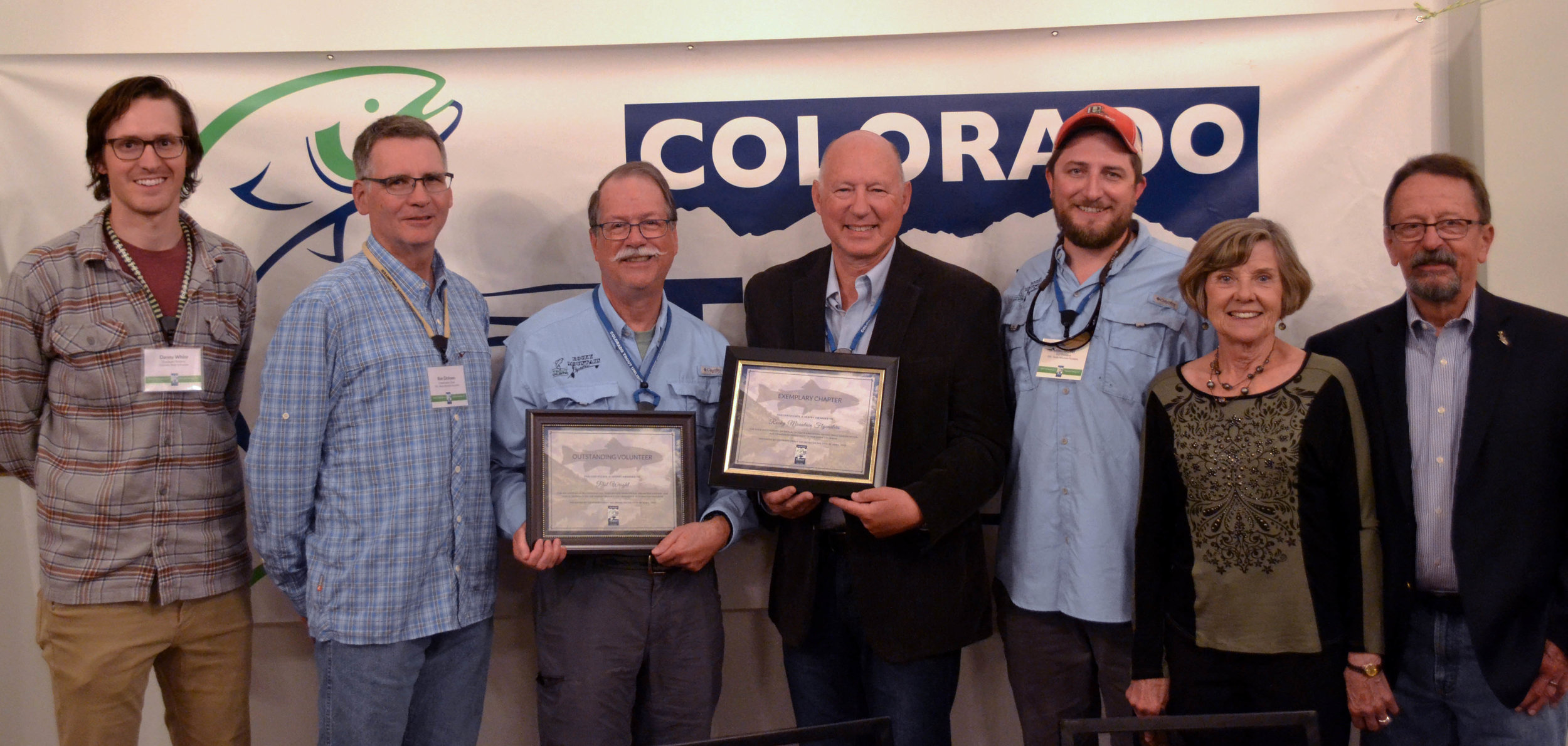 Rocky Mountain Flycasters Chapter received the Exemplary Chapter award (middle right) as well as the Outstanding Volunteer award going to member Phil Wright. (middle left)