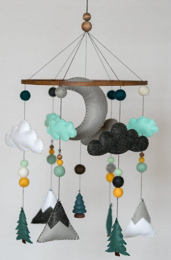 Teal Mustard Mint / Woodland Nursery / Felt Mobile / Mountain Nursery / Felt Moon / Woodland Mobile / Nursery Decor / MonochromHelloxSugar
