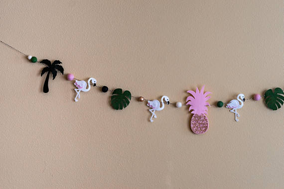 Tropical Party Garland / Palm Leaf / Palm Tree / Tropical Shower / Tropical Nursery / Flamingo / Pineapple / Rose Gold / Baby Shower / PinkHelloxSugar