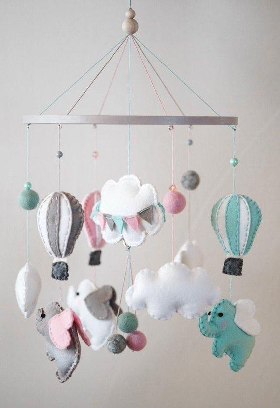 Elephant Nursery / Felt Mobile / Hot Air Balloon / Felt Cloud / Gray White Pink Mint / Crib Mobile / Banner Flag / Pastel / ScandinavianHelloxSugar