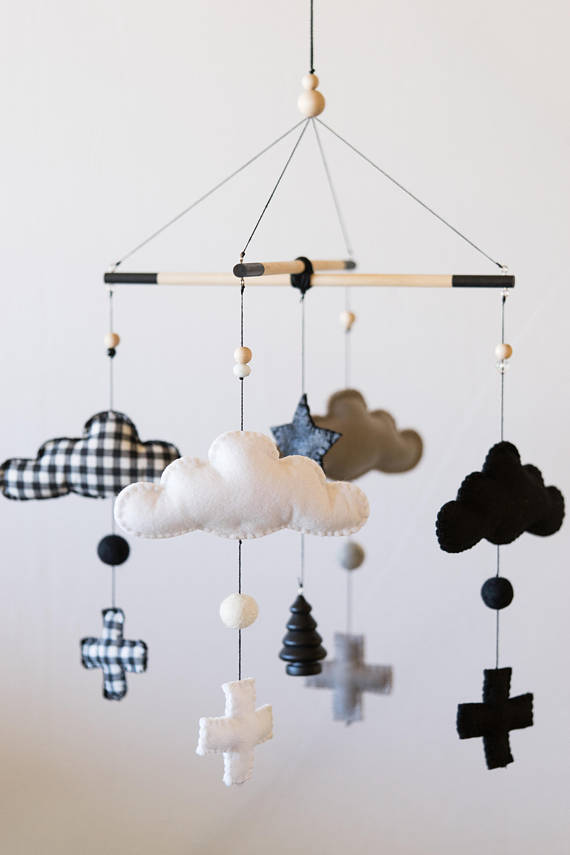 Monochrome Cloud Nursery Mobile /Felt Mobile / Black and White / Felt Mobile / Nursery Decor / Baby Room / Crib DecorHelloxSugar