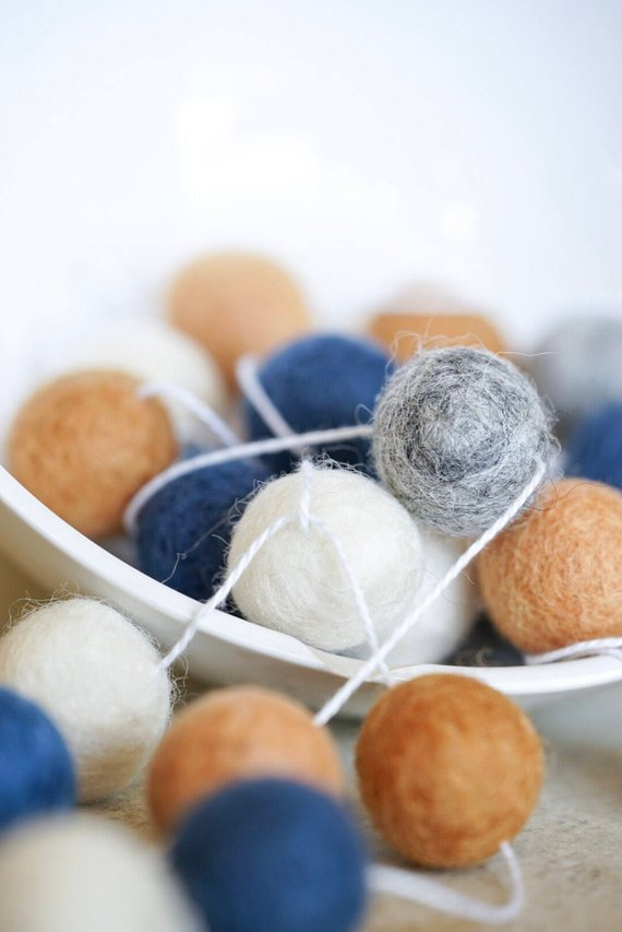 Felt Ball Garland / Nursery Decor / Home Decor / Blue Yellow Gray White/ Modern Nursery/ Baby Boy / Baby Shower Decoration / Felt Pom PomHelloxSugar