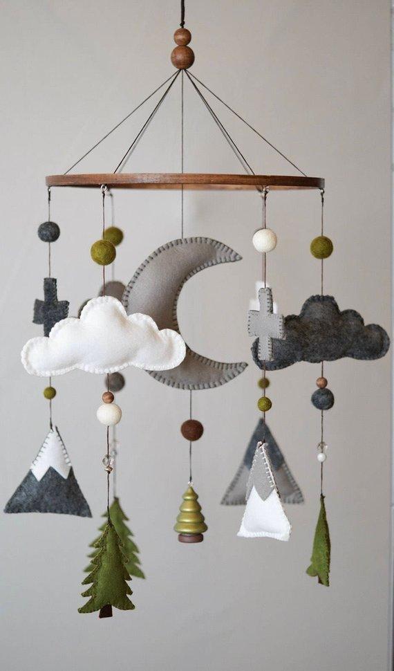 Woodland Nursery / Felt Mobile / Mountain Nursery / Felt Moon / Woodland Mobile / Nursery Decor / Cross / Monochrome / Scandinavian DecorHelloxSugar