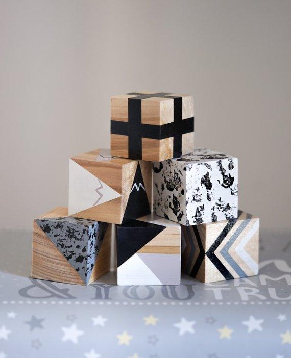 Monochrome Baby Blocks / Wooden Blocks / Nursery Decor / Metallic Painted Blocks / Playing BlocksHelloxSugar