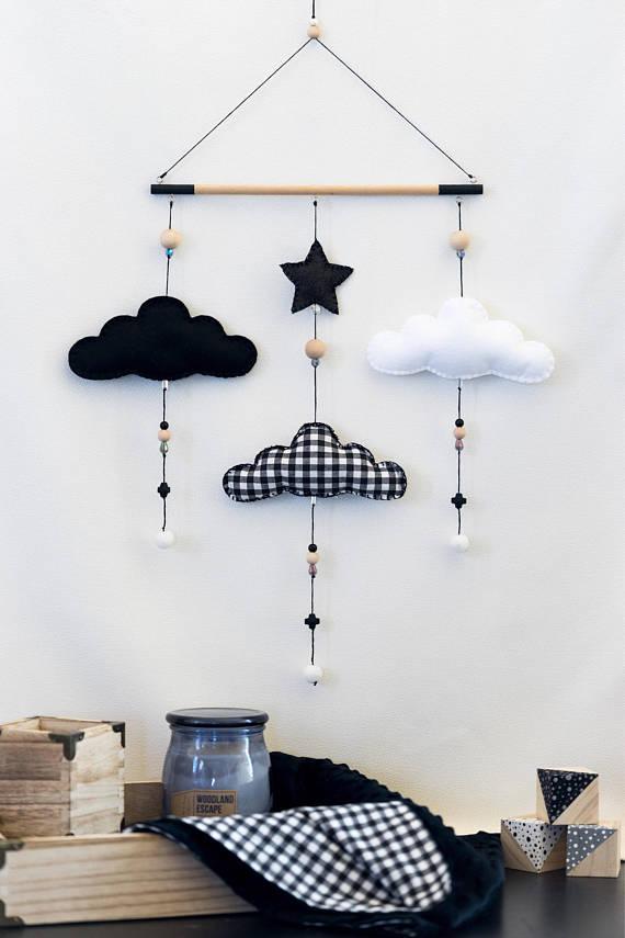 Monochrome Cloud Nursery Mobile / Black and White / Felt Mobile / Nursery Decor / Baby Room / Wall DecorHelloxSugar