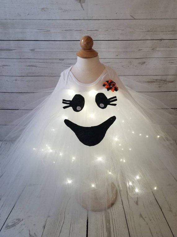 Baby ghost costume - Halloween costume -ghost costume with LED lights -baby costume- ghost costume -Happy Ghost Costume - custom orderA Baby Hub