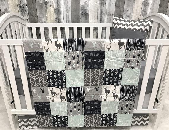 Baby Nursery Set , Baby/Toddler Blanket , Buck , Antlers , Wild n Free , Deer , Arrow , Woodland , Baby Bedding , CribBaby Loom