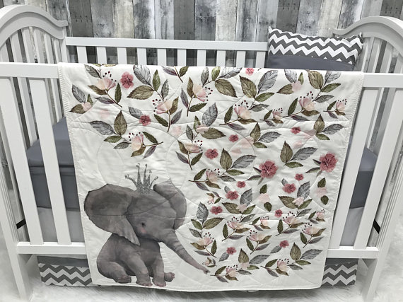 Baby Nursery Set , Baby/Toddler Blanket , Elephant , Chevron , Elephant , Floral , Baby Bedding , Crib BeddingBaby Looms