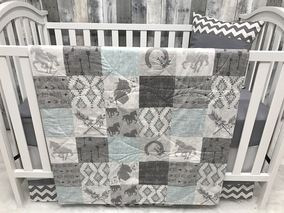 Baby Girl Nursery Crib Set , Baby/Toddler Blanket , Horse , Stalions , Horses , Ranch , Arrow , Woodland , Baby Bedding , CribBaby Loom