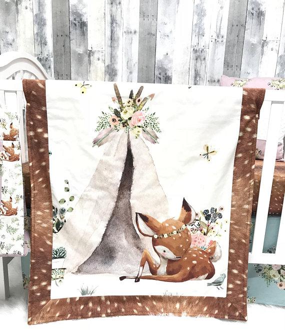 Baby Nursery Bedding Set , Baby , Doe , Deer, Boho , Tee pee, Floral Deer , Tee Pee, Fawn , Minky , Baby Bedding , Babylooms Crib Baby Looms