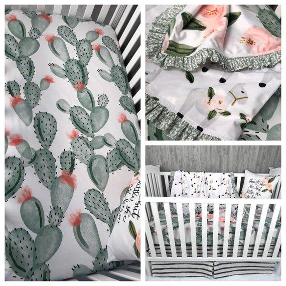 Custom Made Baby Bedding , Llama , Desert , Cactus , Floral , Lama , Crib Bedding , Nursery , Baby , Crib , BeddingBaby Looms