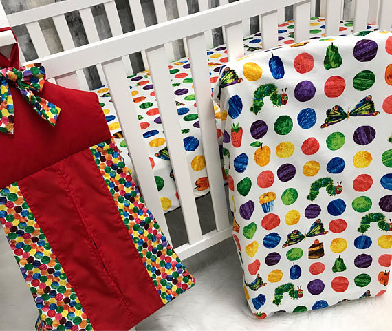 Custom Made Baby Bedding , The Very Hungry Caterpillar , Crib Bedding , Nursery , Baby , Crib , Bedding , BabyloomsBaby Looms