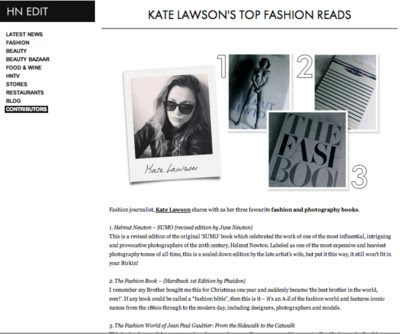 HARVEY NICHOLS - 'The Power of 3' Guest Contributor As a keen photography book collector, I was asked by Harvey Nichols to choose my three favourite fashion & photography tomes.