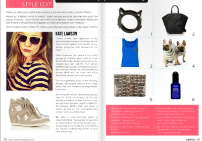CAPITAL MAGAZINE: I was interviewed for the weekly magazine's 'Style Edit' about my fashion and beauty must-haves.