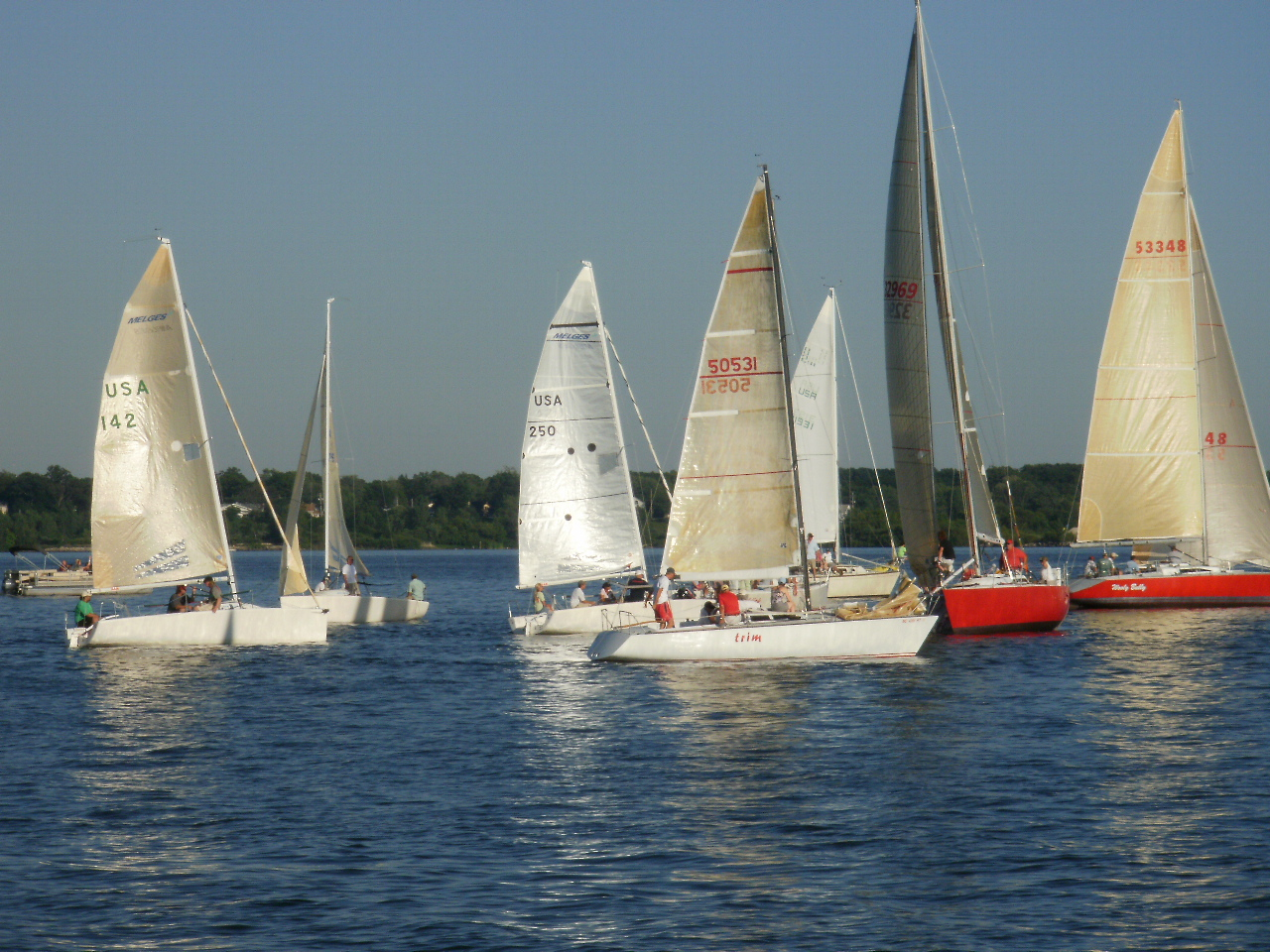 Sailboats on Muskegon Lake