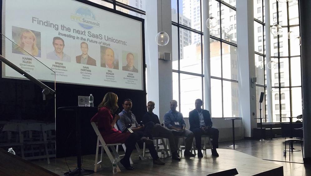 From left: Karin Klein (Founding Partner, Bloomberg Beta), Brian Feinstein (Partner, Bessemer Venture Partners), Dave Hartwig (Managing Director & Co-Founder, Sapphire Ventures), Will Kohler (Partner, Lightspeed Venture Partners), and Adam Marcus (Managing Partner, OpenView Venture Partners)