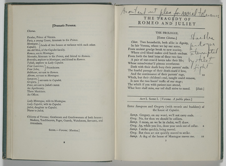 """This is Bernstein's copy of Shakespeare's Romeo and Juliet, with his annotation """"An out and out plea for racial tolerance"""" at the top of the first page.  William Shakespeare.  Romeo and Juliet . Boston: Ginn and Co., 1940. Ed. by George Kittredge.  Leonard Bernstein Collection, Music Division of The Library of Congress  (1) By permission of The Leonard Bernstein Office, Inc."""