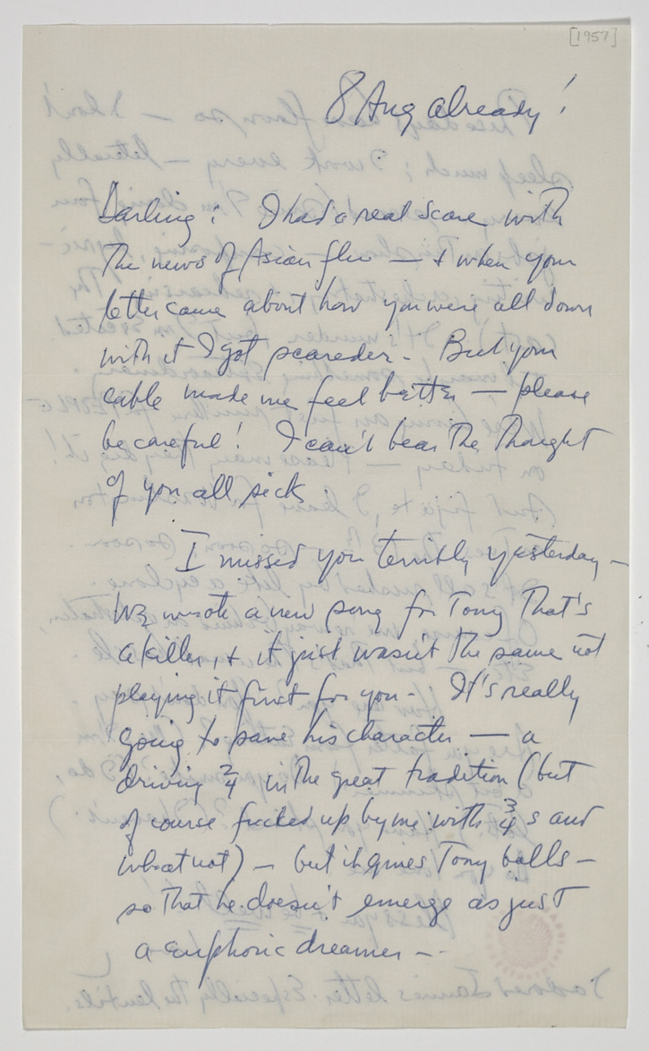 Letter from Leonard Bernstein to his wife Felicia Montealegre Bernstein.  August 8, 1957. Typescript and holograph manuscript. Leonard Bernstein Collection,  Music Division , The Library of Congress (21) By permission of The Leonard Bernstein Office, Inc.