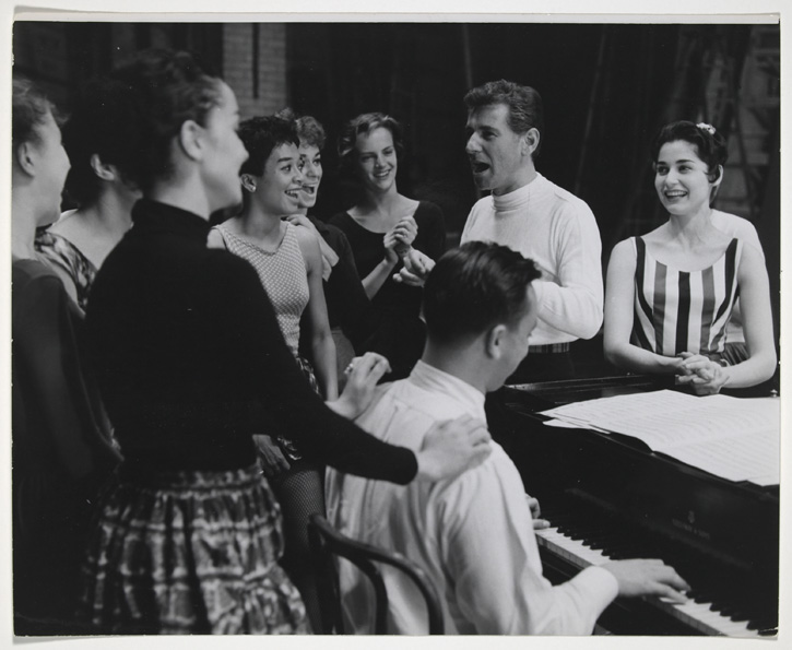 Leonard Bernstein and Stephen Sondheim rehearse with original Broadway cast. Friedman-Abeles, photographer. Leonard Bernstein Collection,  Music Division , Library of Congress (25) Made available online with permission of The New York Public Library for the Performing Arts.