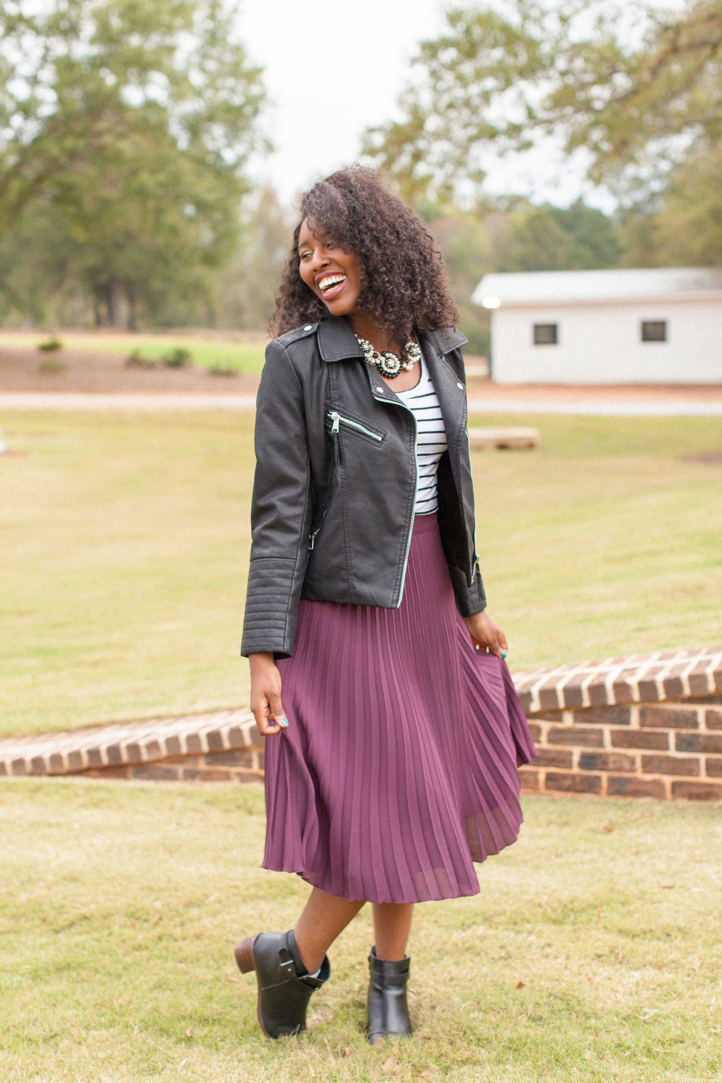 Pleated skirt leather jacket | How to style a difficult piece | Style by Toyin
