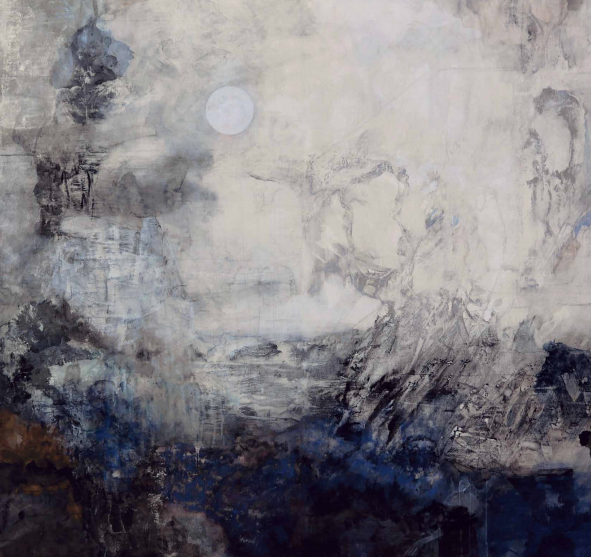 """""""Hasegawa captures the landscapes of the heart, pouring within her pigments the raw beauty of nature as seen from not only her eyes but brimming from an imaginary world within, with paintings viscerally pulling at the strings of human empathy through the vicissitudes of life itself."""" - adoration, 2013,Japanese pigments on Japanese paper, mounted on a single panel 162 x 175 cm"""