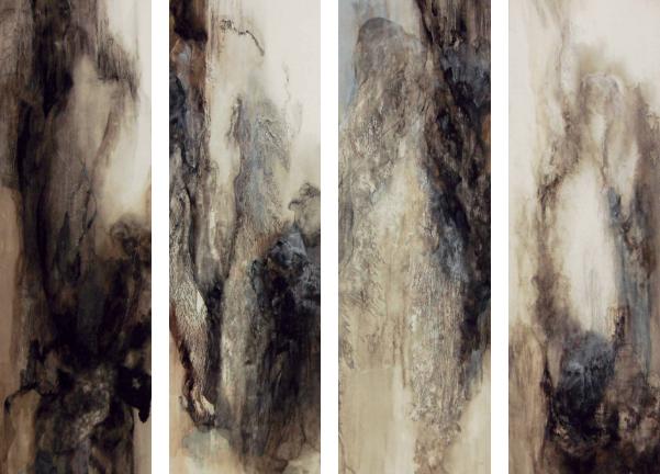 ephemera, 2010  Japanese pigments on Japanese paper, mounted on 4 individual panels  145.5 x 45.5cm (each)