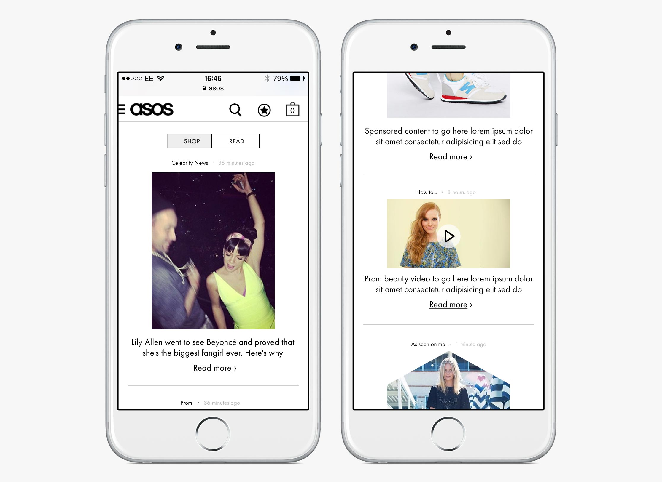 ASOS Womenswear homepage with editorial content (mobile)