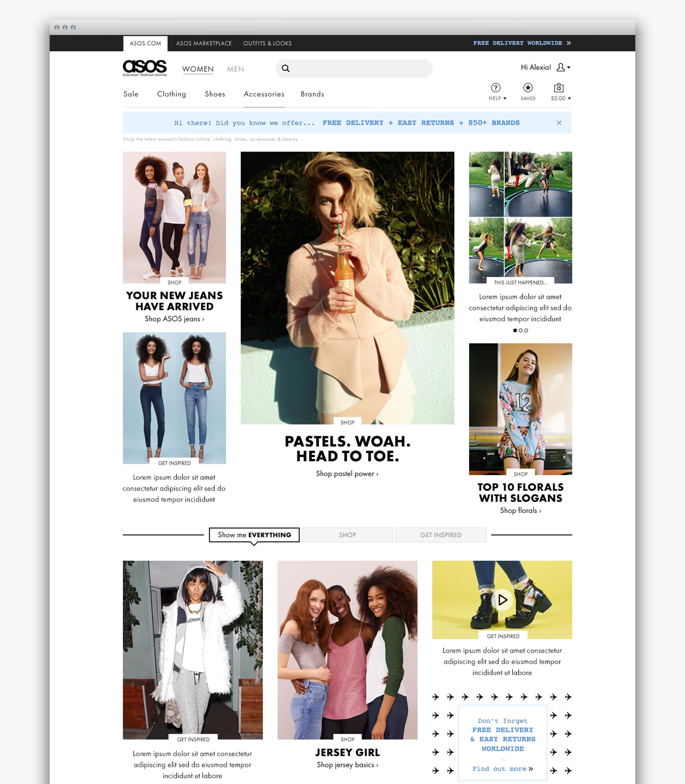 ASOS Womenswear homepage with shopping and editorial content (desktop)
