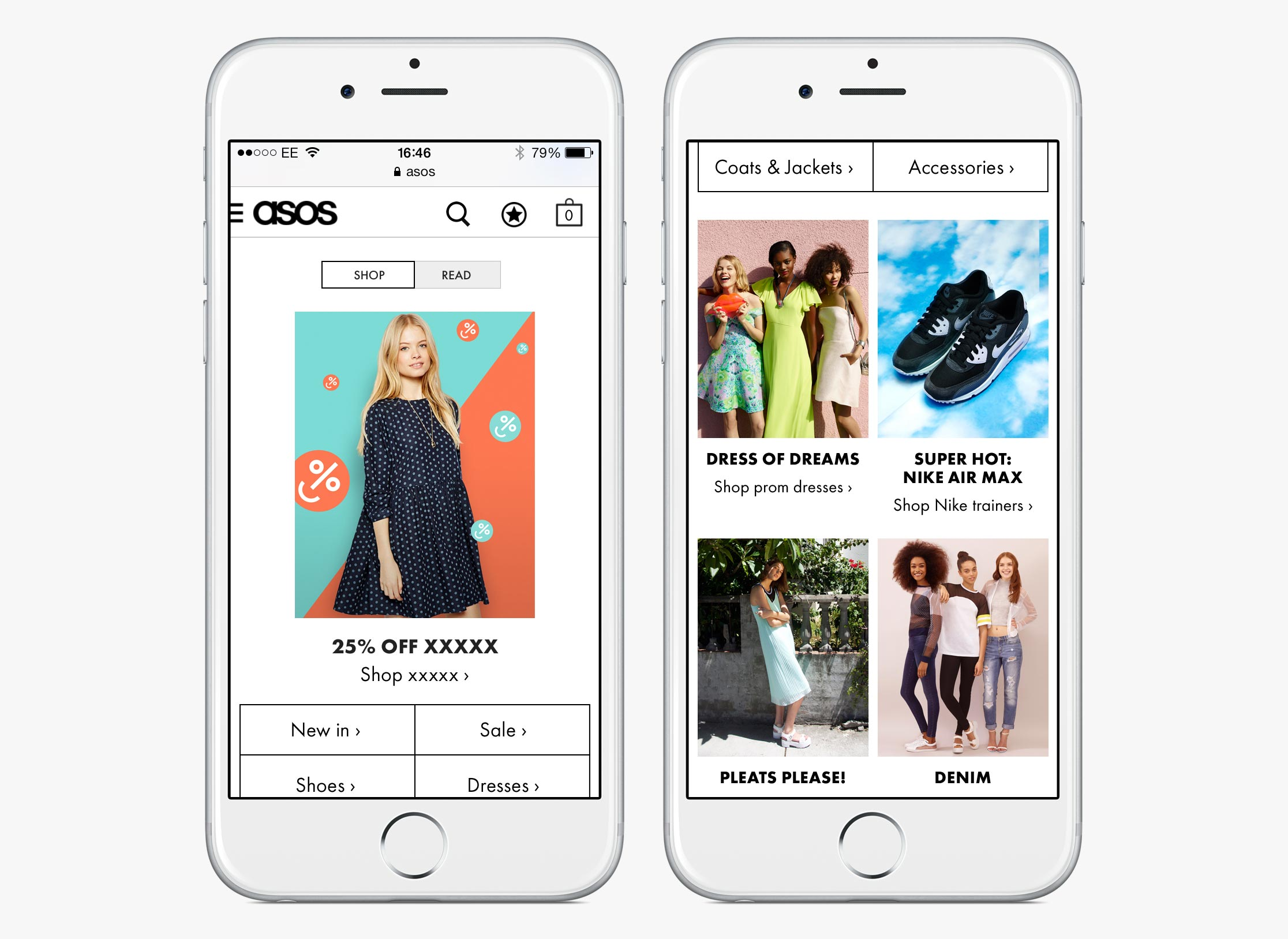 ASOS Womenswear homepage with shopping content (mobile)