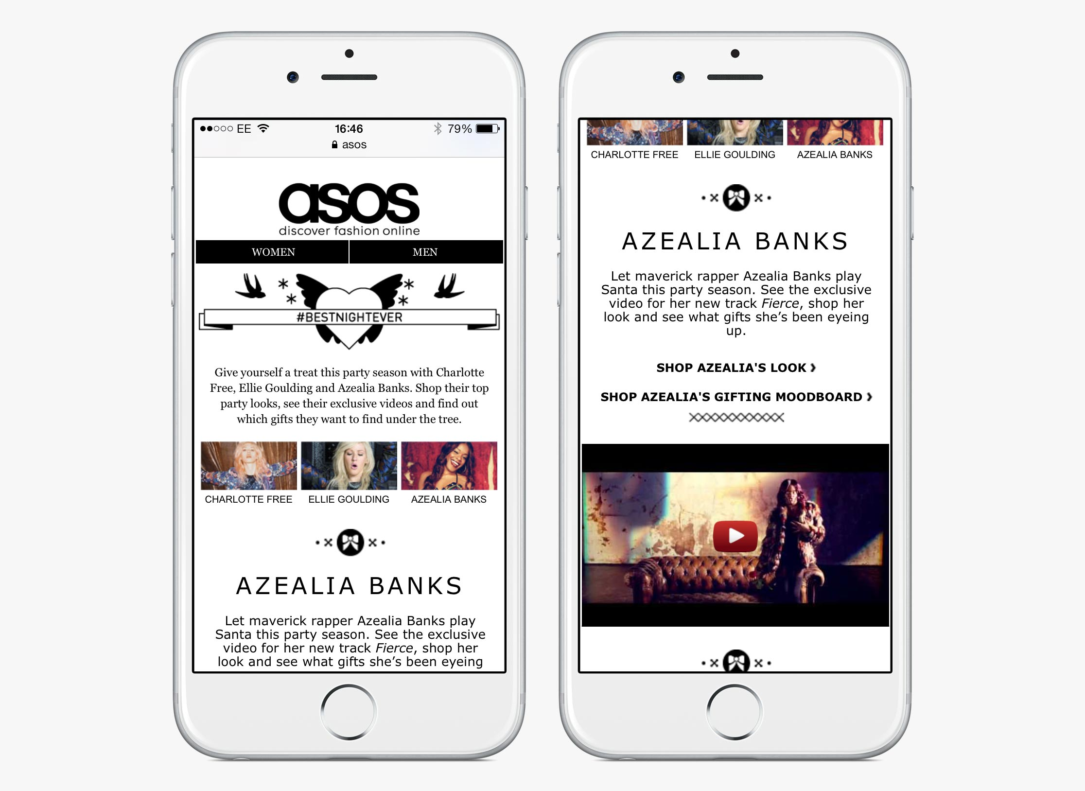 ASOS Womenswear #BestNightEver celebrity content hub