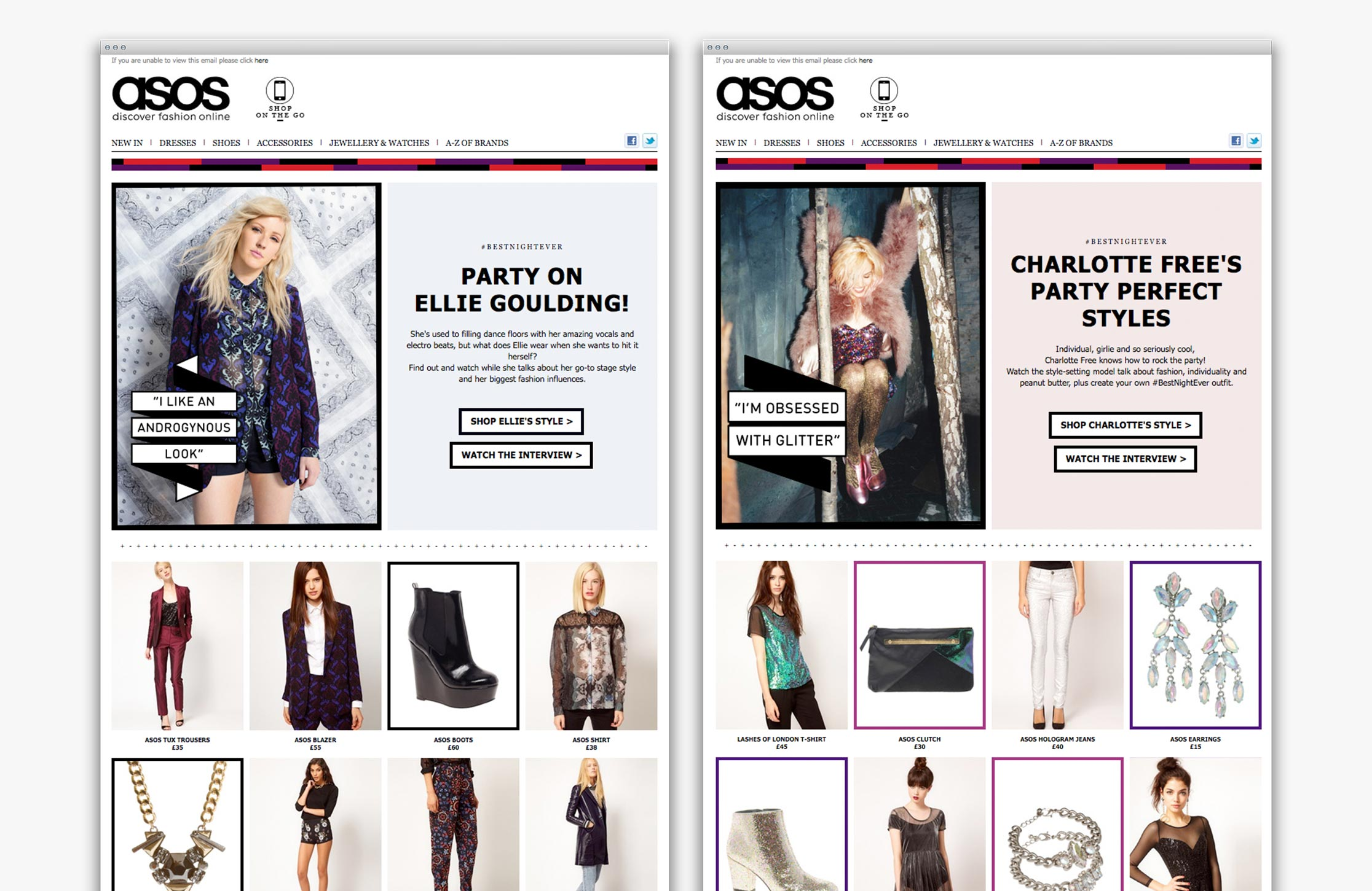 ASOS Womenswear #BestNightEver email newsletters