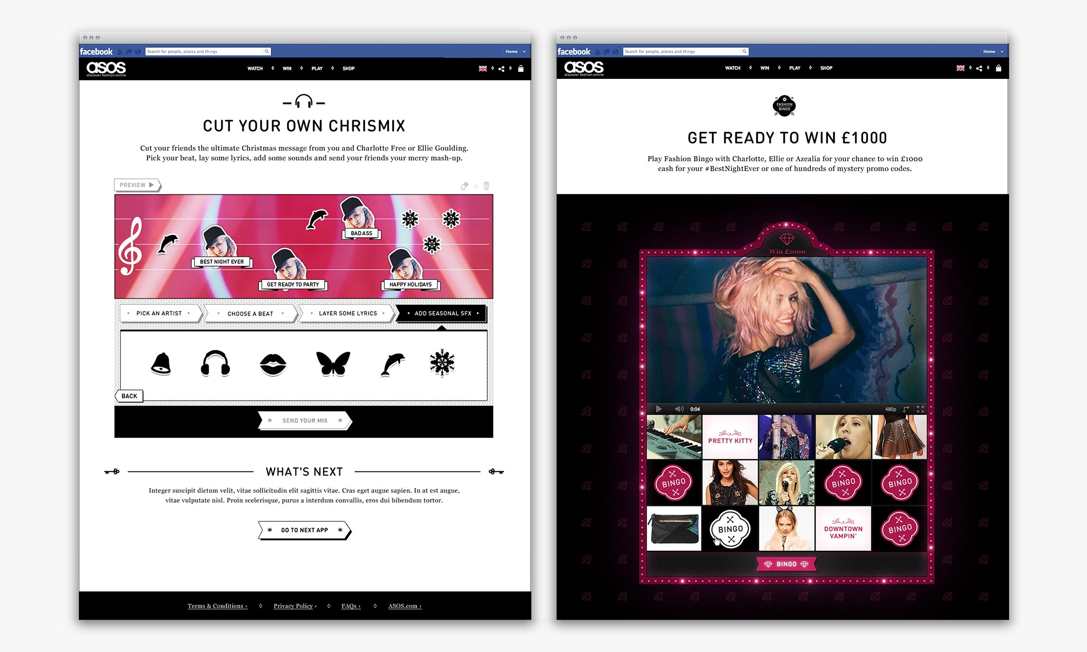 ASOS Womenswear #BestNightEver Facebook hub – Chrismix and Fashion Bingo games
