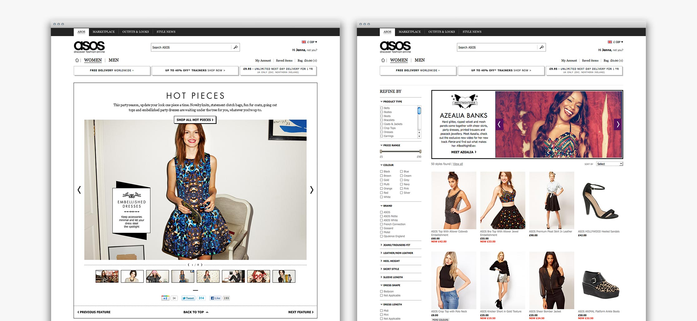 ASOS Womenswear #BestNightEver inspirational content on retail pages