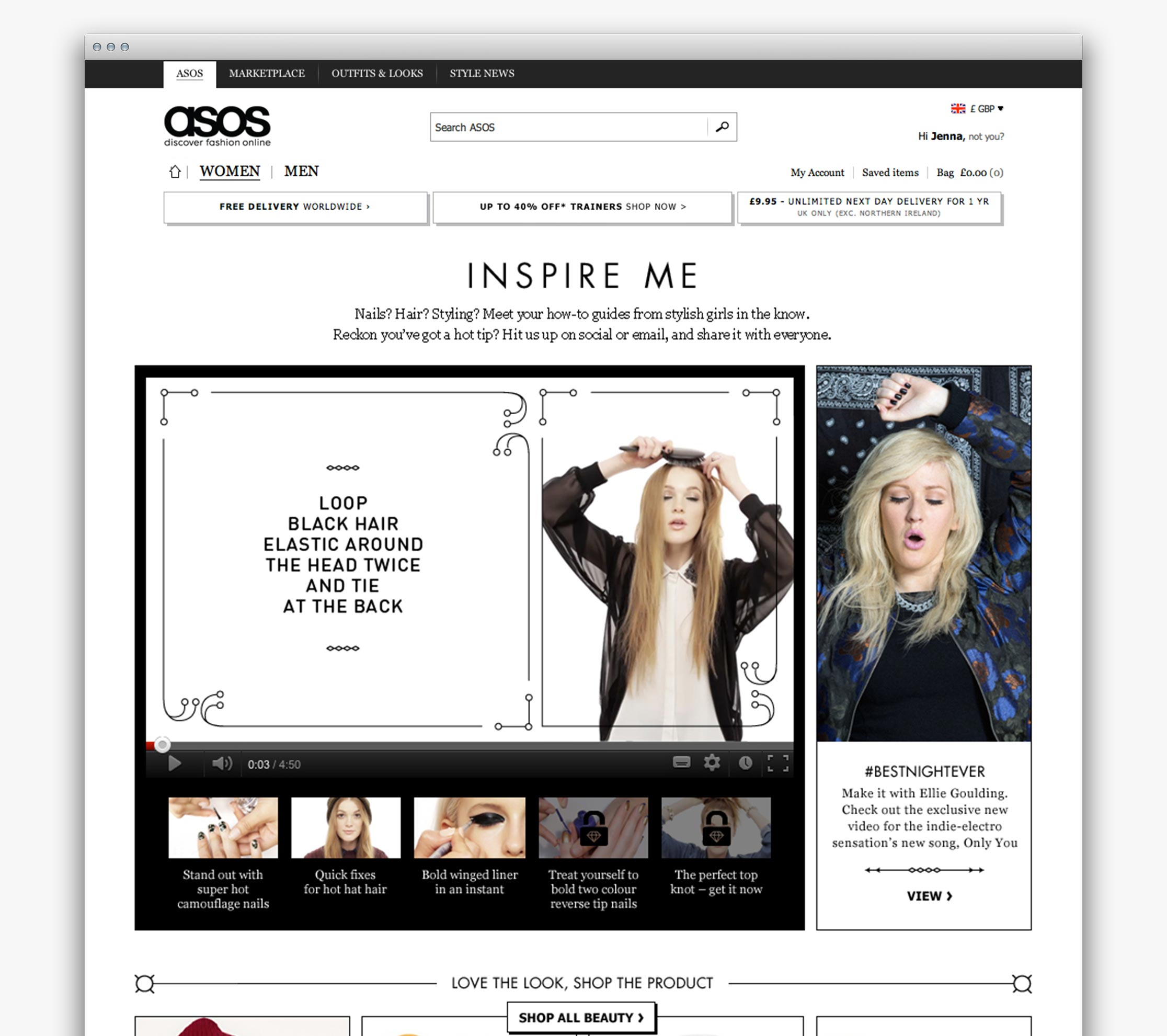 ASOS Womenswear #BestNightEver inspirational content hub