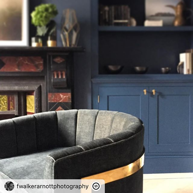 "One of my latest projects was photographed by @fwalkerarnottphotography and @beautifulhomesinthenorth  Looking forward seeing the final results 😍 ・・・ ""A bit of deep, dark loveliness this week. Can't show you anymore I am afraid, it's staying under wraps until published...Enjoying editing this one.  #interiors #interiorsphotographer #interiorsphotography #interiordesign #indigo #deliciouslycosy #grownuproom #sittingroom #drawingroom #brassaccents #scallopbackchair #armchair #iphoneshot  #blue Designer @ninamaklin  Stylist: Karen Wilson of lovely duo @beautifulhomesinthenorth"""