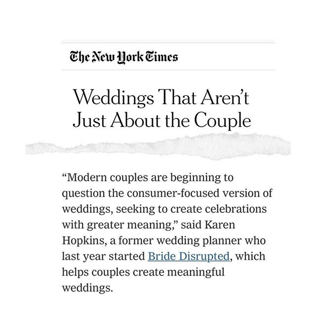 "I'm calling it: the current version of weddings does not meet the integrity of the people who are having them.⁠⠀ ⁠⠀ Right now, the wedding industry pressures us into making all the materialistic decisions first (hello, wedding colour palette 🙄) and saves the intentional stuff for the bottom of the barrel: your vows, ceremonies, and moments to share why you're in this at all.⁠⠀ ⁠⠀ For a generation that has taken it upon themselves to disrupt just about every other aspect of our lives, we still avoid the big questions: why wedding customs from thousands of years ago are still relevant, and whether they should be practiced at all.⁠⠀ ⁠⠀ I think it's time we demanded more from our weddings. ⁠⠀ ⁠⠀ I think it's time we broke free from what we've been told that a wedding *should* be. ⁠⠀ ⁠⠀ I think it's time for a wedding revolution. ⁠⠀ ⁠⠀ Don't you?⁠⠀ ⁠⠀ ⁠⠀ ⁠⠀ Excerpt from the New York Times article ""Weddings Aren't Just About The Couple"", by @abby_ellin_author"
