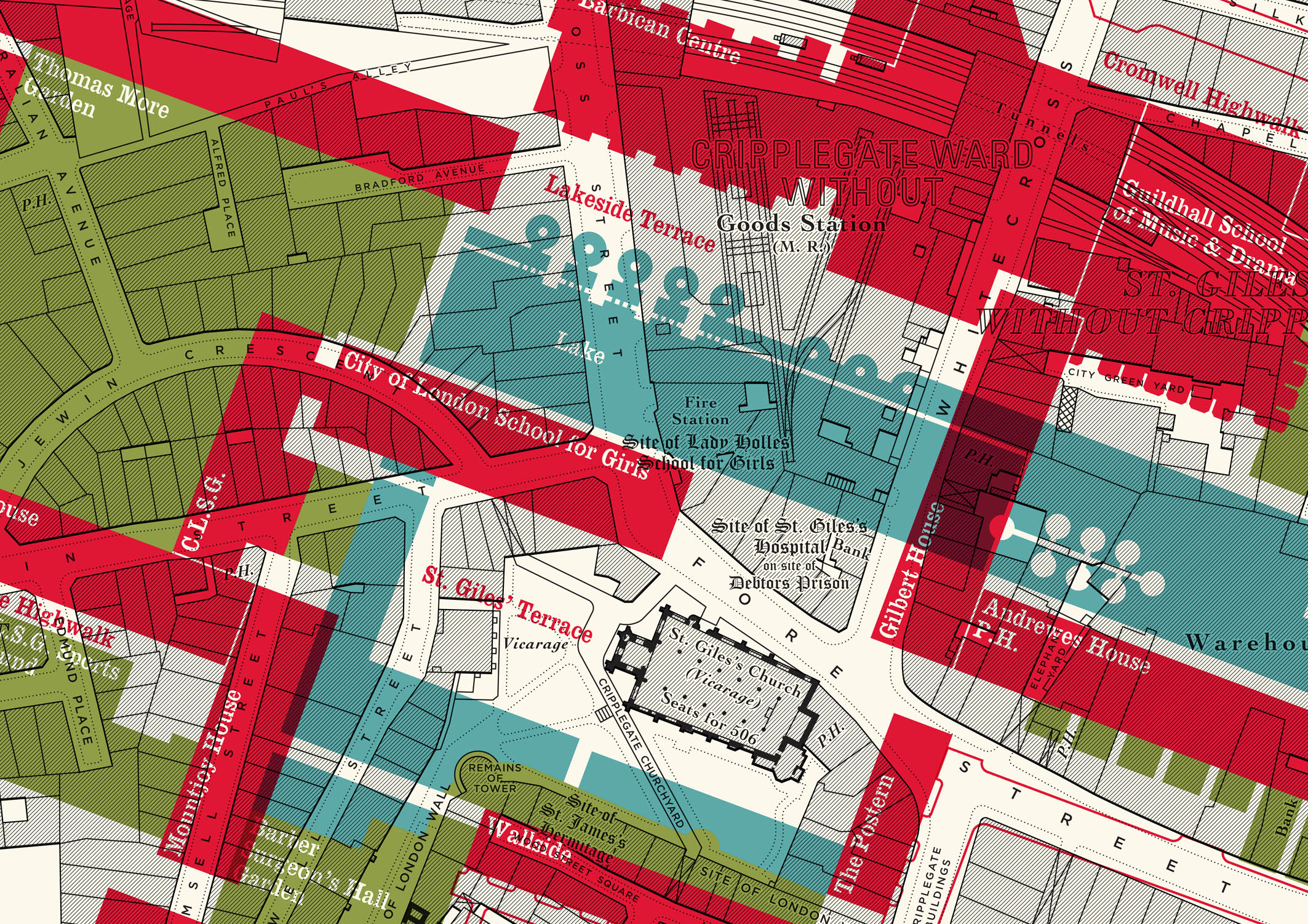 Palimpsest Plans - The overlap of the Barbican plan on the former matrix of streets that populated the Clerkenwell area. The place where architecture meets archeology. Redefining new streetscapes whilst resetting the buildings that remain.