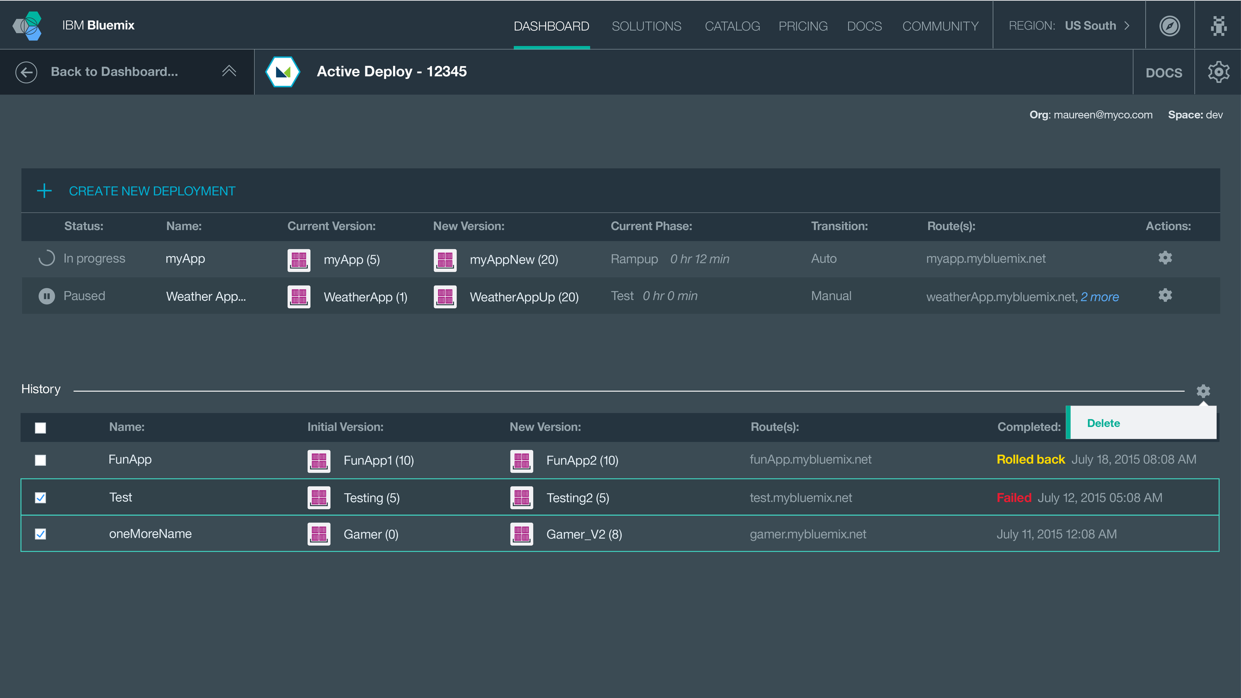 ^ Users can see all of their deployments here. They can elect to delete any deployments from their history when no longer needed.