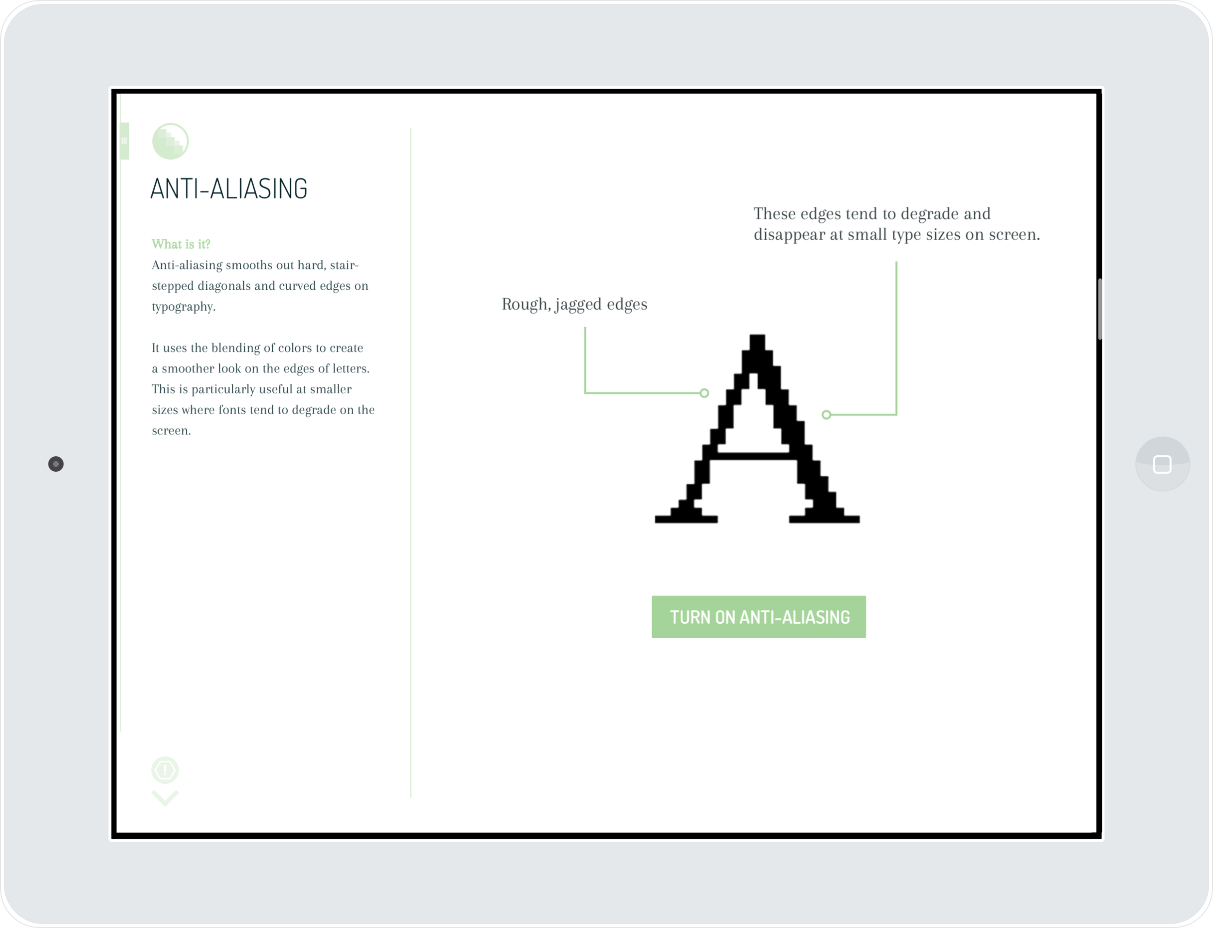 ^ Each section has a short explanation of the topic, as well as an example for readers to better visualize and understand the topic. Here, the concept of anti-aliasing is being shown. Readers can turn anti-aliasing on and off to see the differences.