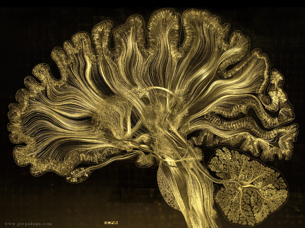 Art by Greg Dun, artistic representation of a human brains neural connections - The Mycelial Network Connects the Entire Planet