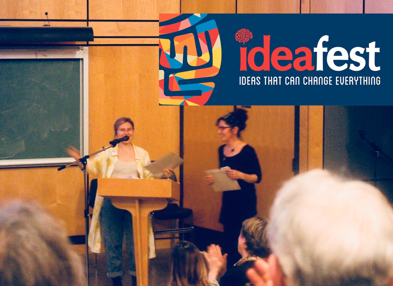 Paige accepting the First Place and People's Choice award at UVic's Ideafest. You can't see but she is smiling super big :)