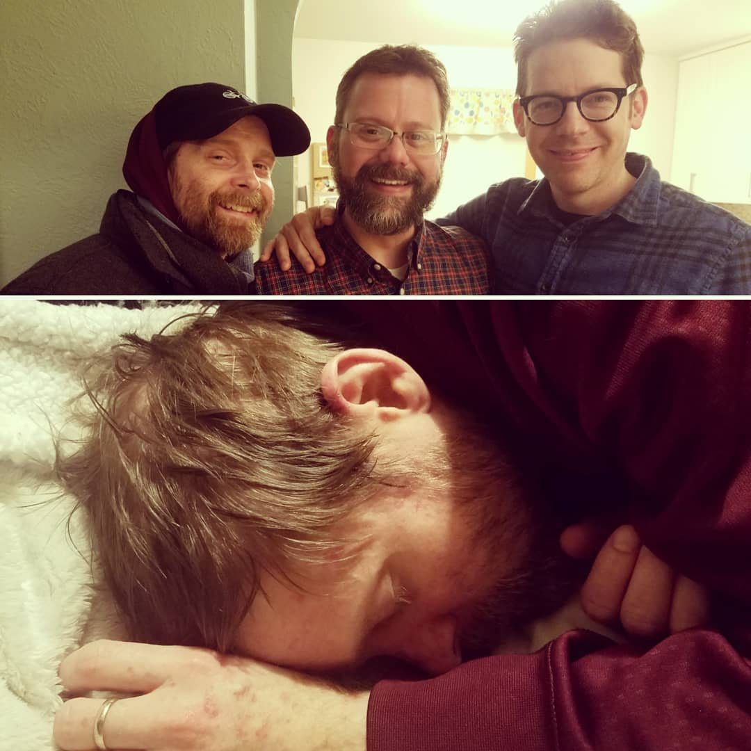 "- ""These photos were taken 25 minutes apart. Sean gave all his energy for a wonderful night of fun with family and friends, got home, and collapsed in exhaustion."""