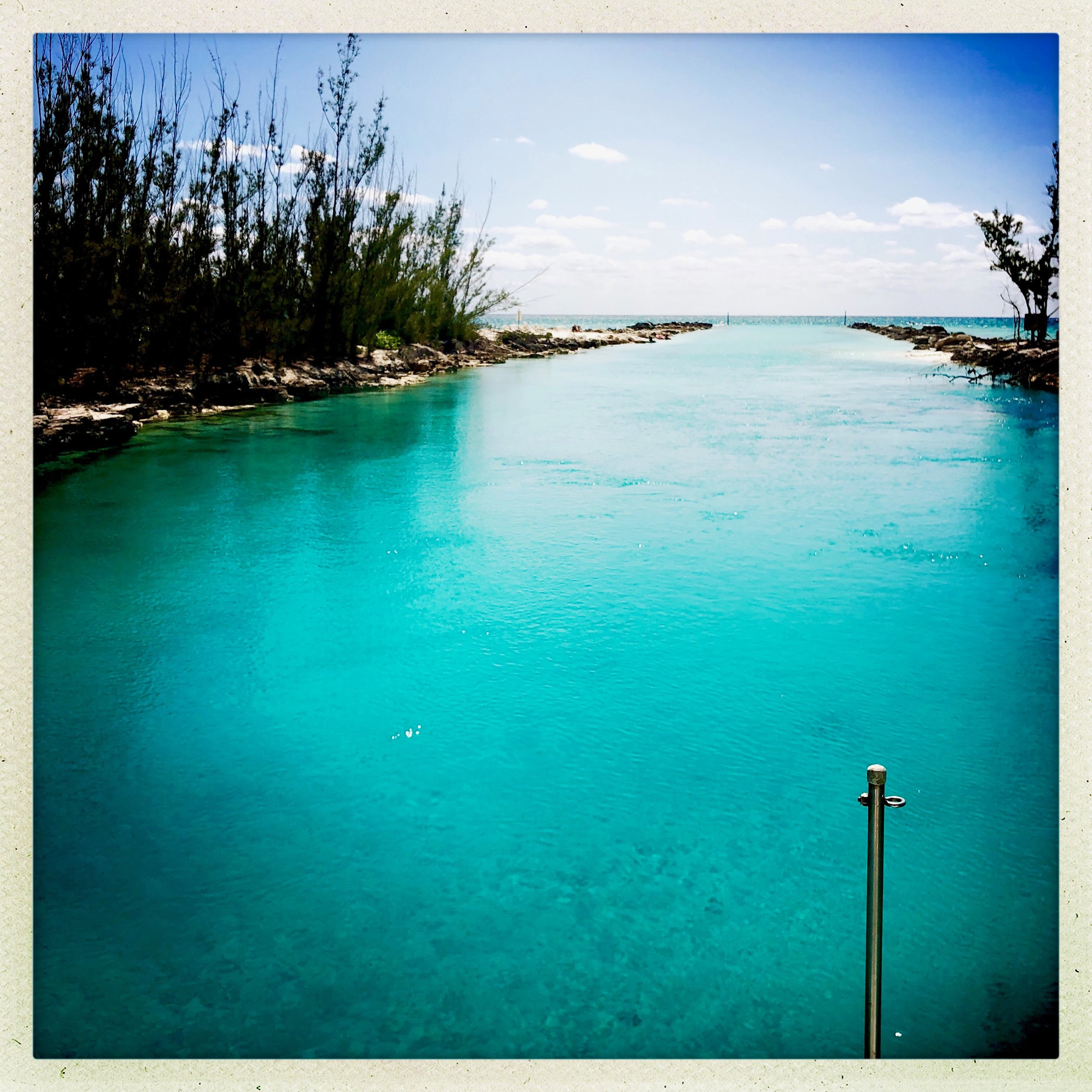 The inlet on Grand Bahama Island where experienced guests can take the dinghy for a spin