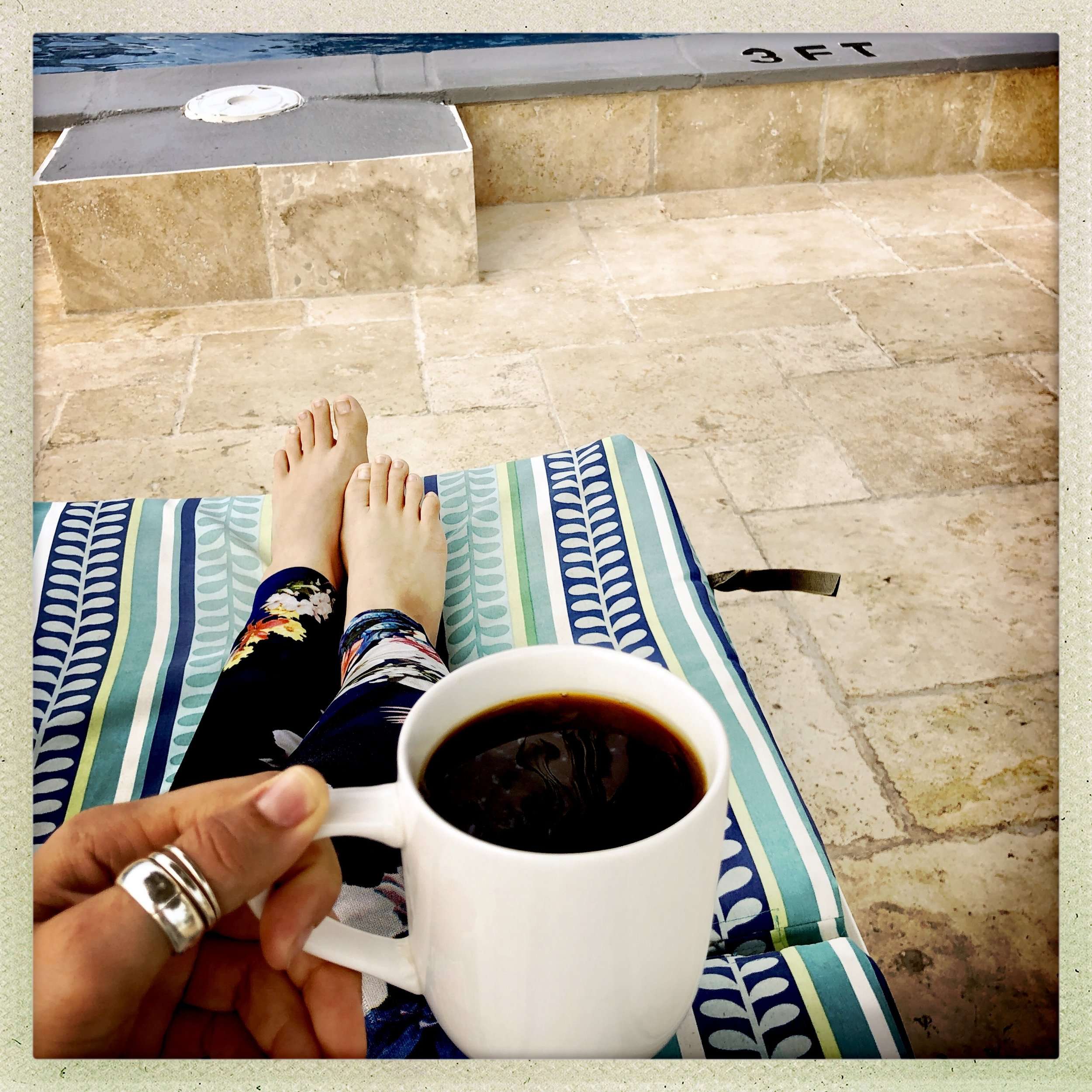 Morning coffee poolside at Ocean Reef Yacht Club & Resort on Grand Bahama Island