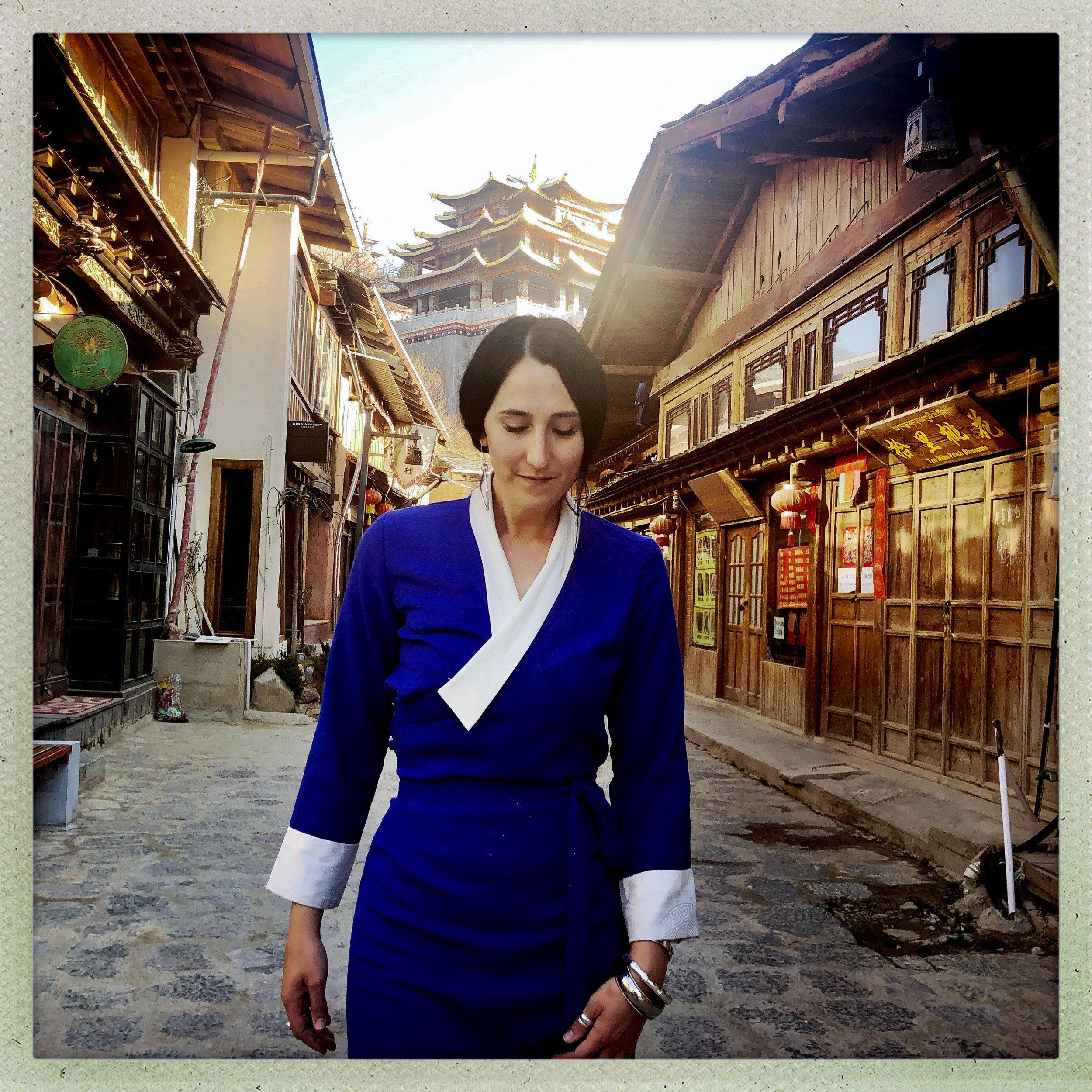 Jenna wearing a traditional Tibetan chupa dress in Azure Blue. Photo collaboration with Douglas Beasley
