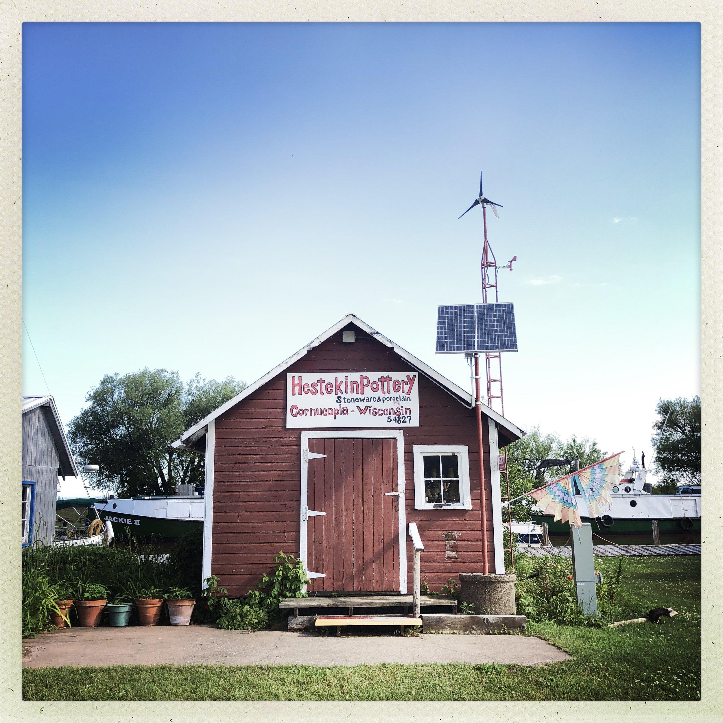 Hestekin Pottery Shop in Cornucopia, Wisconsin