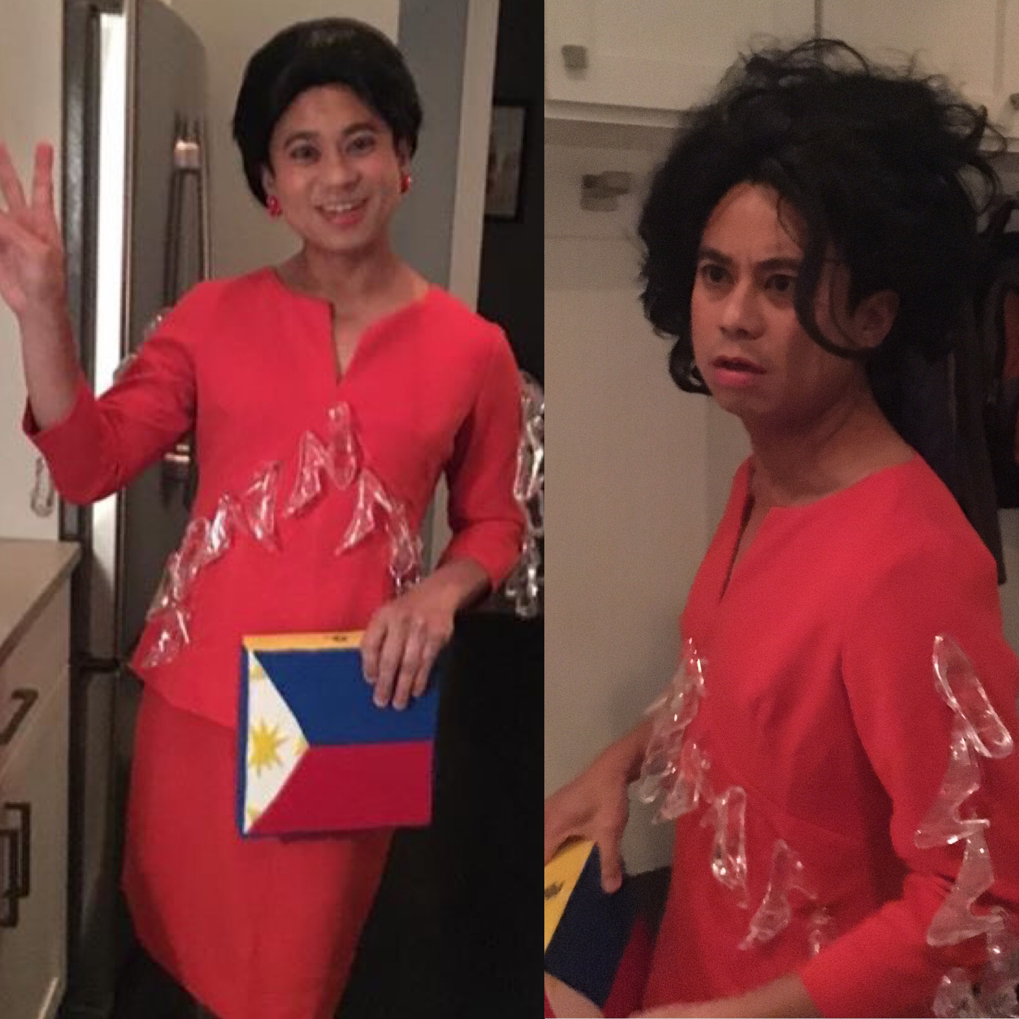 Hot Seater Alvin dela Cruz in drag as Imelda Marcos (#theshoeswerelit), before and after the event
