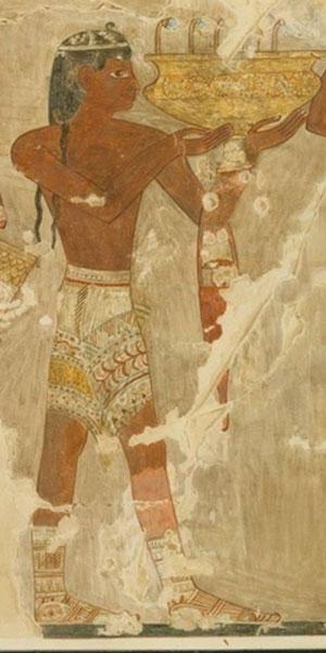 Minoan man with bandwoven kilt.